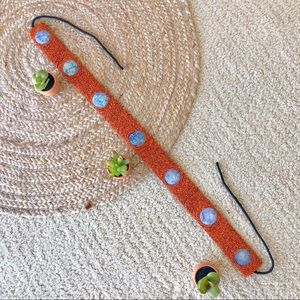 Beaded tie belt with stone accents
